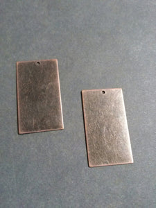 Metal Stamping Blanks Antiqued Copper Blank Charms Pendants Metal Rectangle Blanks 50 pieces 32mm