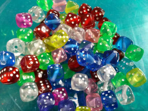 Dice Beads Acrylic Beads Acrylic Dice Beads Assorted Beads BULK Beads Wholesale Beads 50 pieces