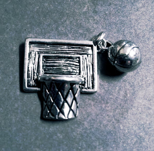 Basketball Charm Antiqued Silver Sport Charm Basketball Pendant Silver Basketball Charm CLEARANCE was 3.69