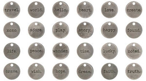 "Word Charms Quote Charms Word Pendants Inspirational Charms Assorted Charms Antiqued Silver Word Charms Round Charms 24pcs 3/4"" PREORDER"