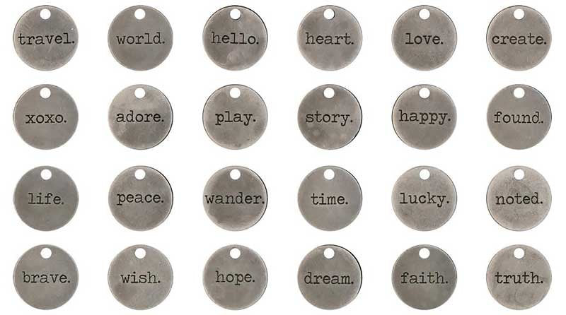 Word Charms Quote Charms Word Pendants Inspirational Charms Assorted Charms Antiqued Silver Word Charms Round Charms 24pcs 3/4