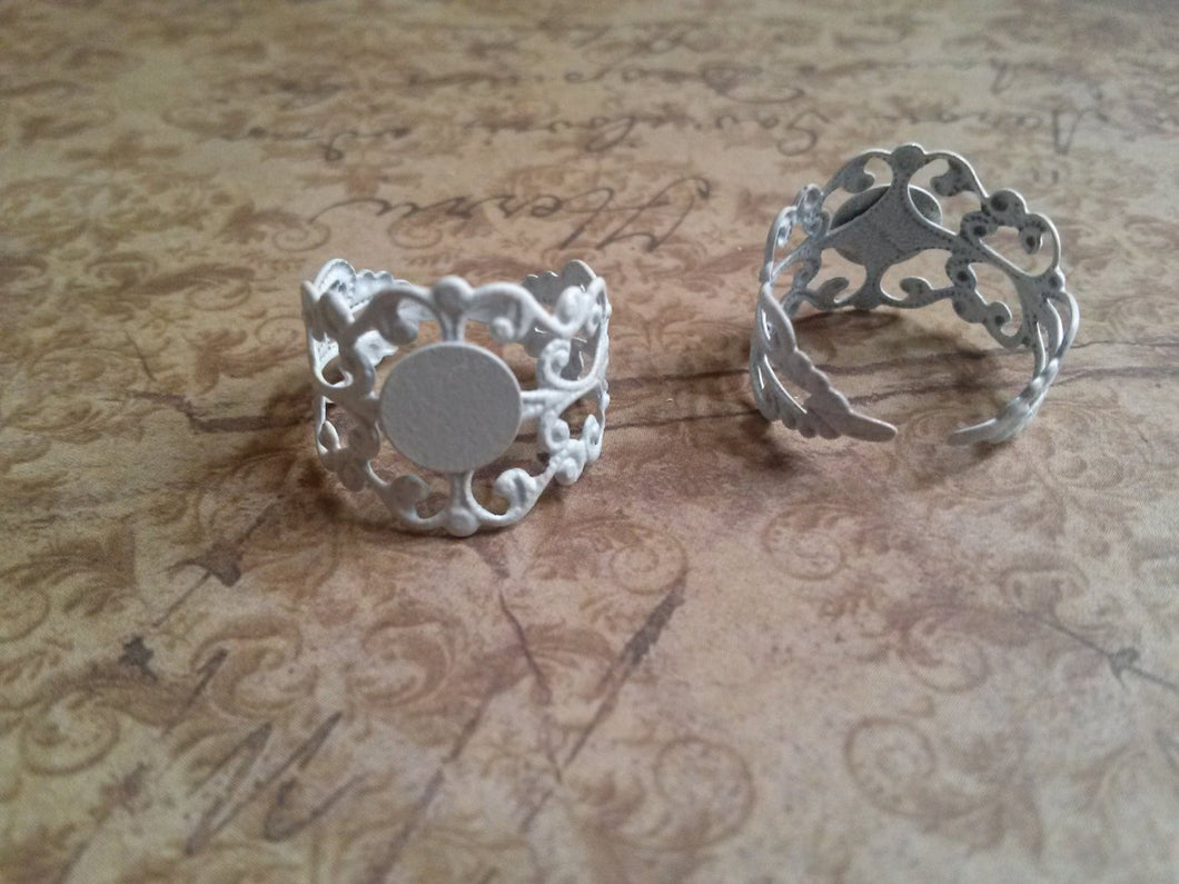 Ring Blanks Adjustable Rings Filigree White Ring Blanks 3 pieces Filigree Ring Blanks Blank Rings with Pads Ring Settings