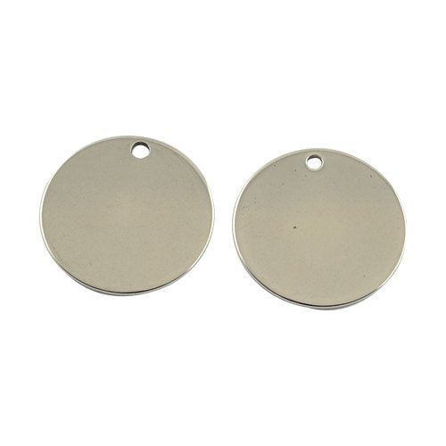Metal Stamping Blanks Silver Circle Blanks Stainless Steel Circle Charms Engraving Blanks 20mm Blank Charms 4 pieces