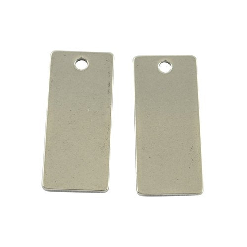 Metal Stamping Blanks Engraving Blanks Stainless Steel Blanks Blank Charms Blank Pendants Silver Blanks Rectangle Charms 21mm 2 pieces