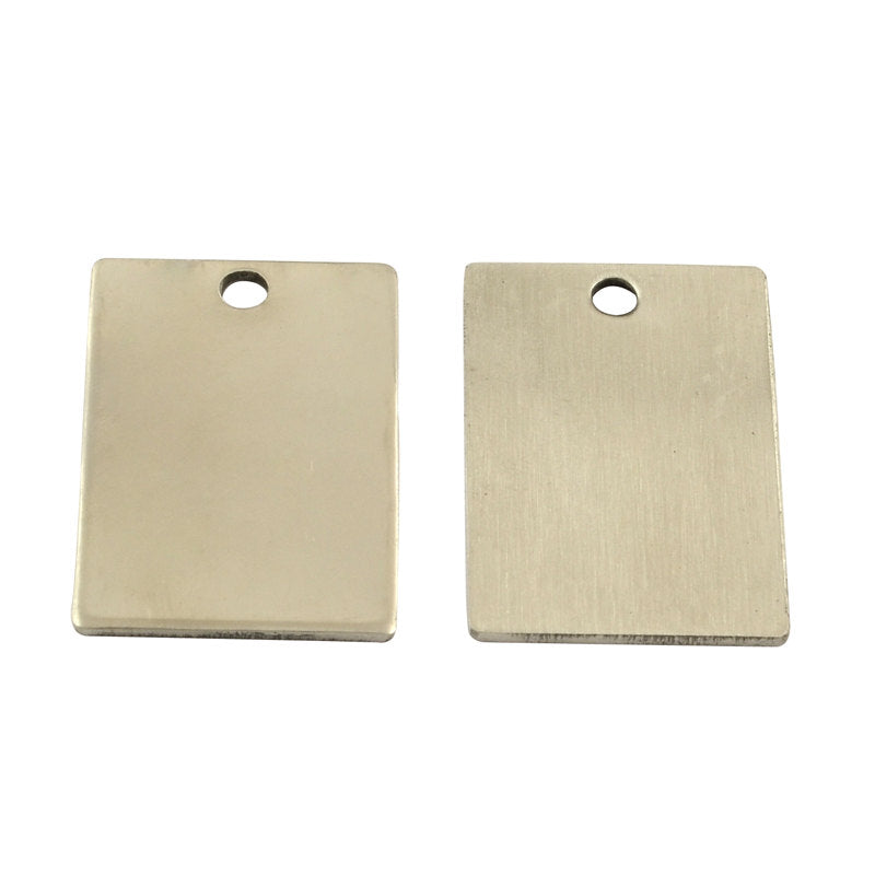 Metal Stamping Blanks Stainless Steel Blanks Rectangle Blanks Hand Stamping Engraving Blanks Steel Pendants Rectangle Charms 2 pieces