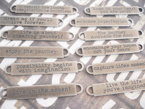 Quote Pendant Connector Antiqued Silver Oil Brushed Finish 1 PIECE Word Pendant Quote Connector Embrace Imperfection
