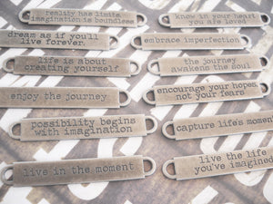 Quote Pendant Connector Antiqued Silver Quote Charm Connector Pendant Oil Brushed Finish Word Pendant Dream As If You'll Live Forever