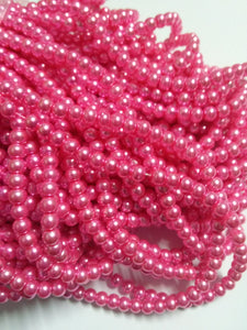 "Pink Pearls Glass Pearls 4mm Beads 4mm Glass Beads Pink Pearl Beads Wholesale Beads Bulk Beads 32"" Strand Pink Beads 216pcs"