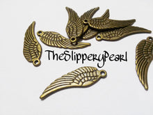Load image into Gallery viewer, Angel Wing Charms Wing Pendants Antiqued Bronze Wing Charms Bronze Charms 1 inch Wings Double Sided 30mm 10 pieces