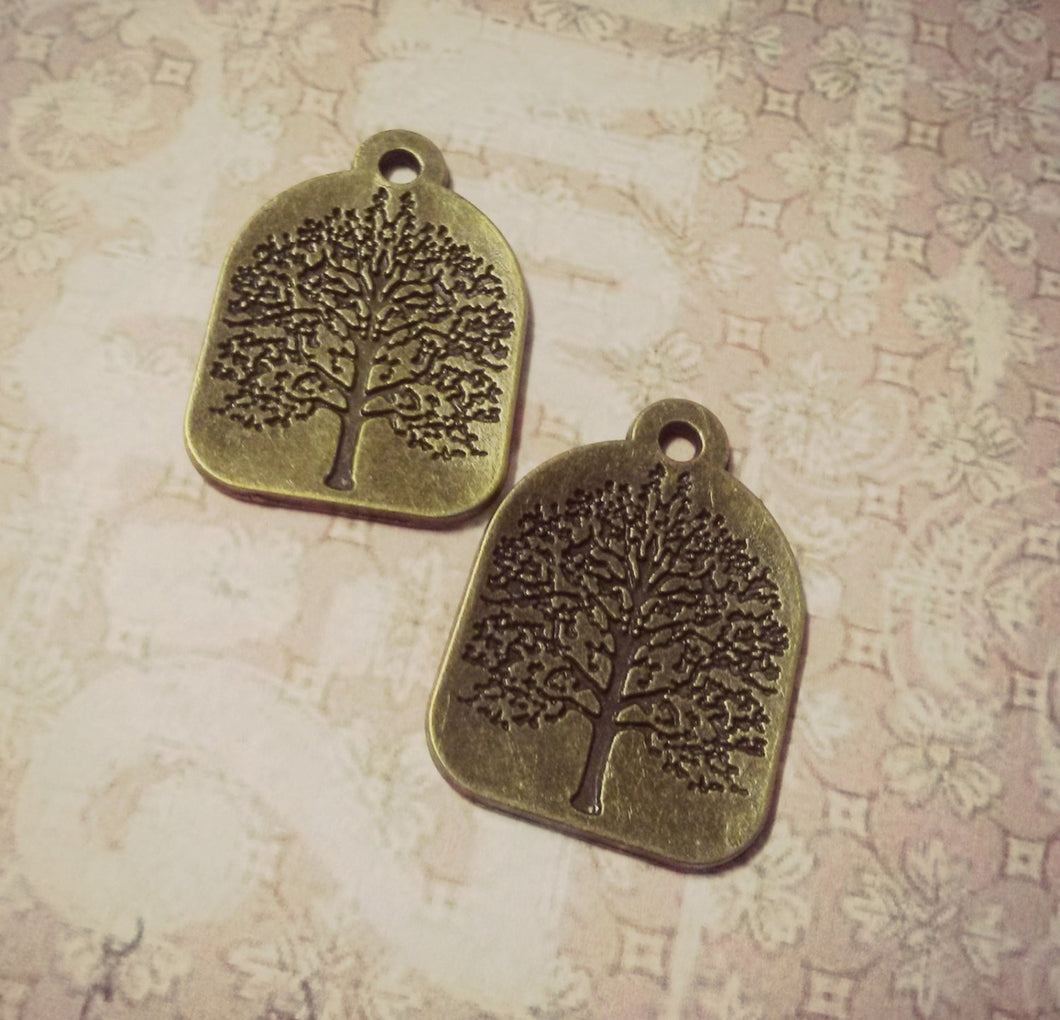 Tree of Life Charms Antiqued Bronze Tree Pendants Stamped Tree Charms Nature Charms Bronze Tree Charms Stamped Pendants 4 pieces