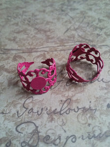 Ring Blanks Adjustable Rings Blank Ring Filigree Rings Vintage Style Pink 3 pieces Pink Rings Blank Rings Wholesale Rings