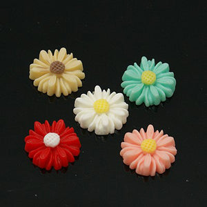 Flower Cabochons Assorted Colors Daisy Cabochons 13mm 10 pieces Flat Back Flower Embellishments for Rings Earrings