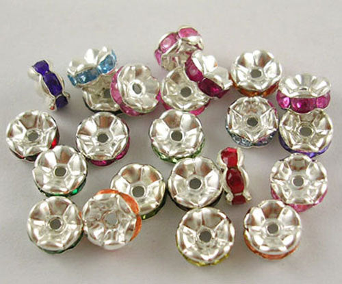 Rhinestone Spacer Beads Rhinestone Rondelle Beads Assorted Colors 7mm Beads Rondelle Spacer Beads 20 pieces Wholesale Beads