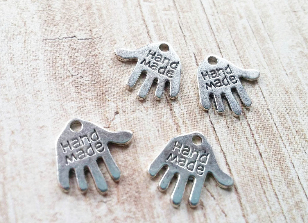 Hand Charms Handmade Charms Silver Jewelry Tags Word Charms Jewelry Charms Silver Hand Charms Hand Made Charms 20 pieces