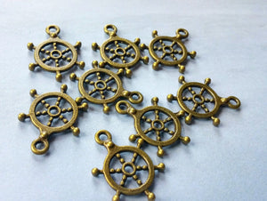 Ship Wheel Charms Pendants Helm Charms Antiqued Bronze Charms Nautical Ocean Charms Captain of My Soul 10 pieces