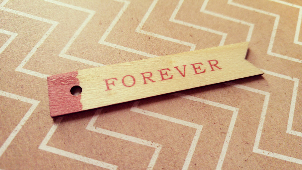 Word Pendants FOREVER Tag Charms Tag Pendants Word Tags Wood Pendants 5 pieces 2.5