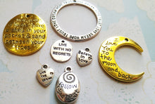Load image into Gallery viewer, Quote Pendants Word Pendants Assorted Charms Inspirational Charms Word Charms Quote Charms 7 pieces Antiqued Silver Antiqued Gold
