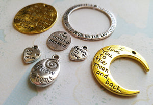 Quote Pendants Word Pendants Assorted Charms Inspirational Charms Word Charms Quote Charms 7 pieces Antiqued Silver Antiqued Gold