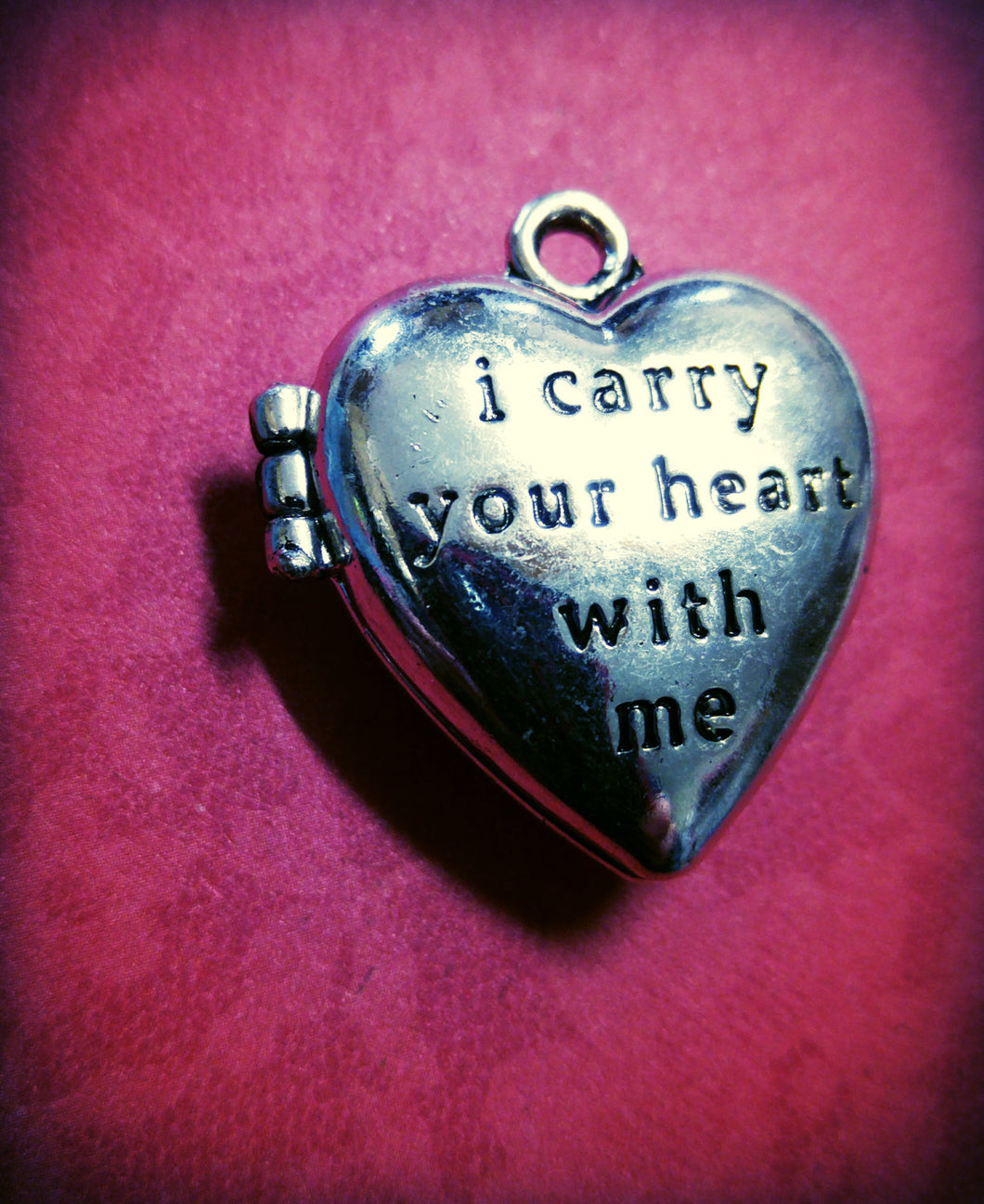 Locket Pendant Photo Locket Quote Locket Heart Locket I Carry Your Heart With Me Antiqued Silver Heart Pendant Heart Charm