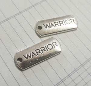 Word Charms Word Pendants WARRIOR Charms Antiqued Silver Charms Silver Word Charms Inspirational Charms Tag Charms 10 pieces