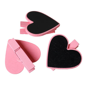 Valentines Day Tags Heart Clip Tags Chalkboard Tags Tiny Clothespin Tags PINK 5 pieces