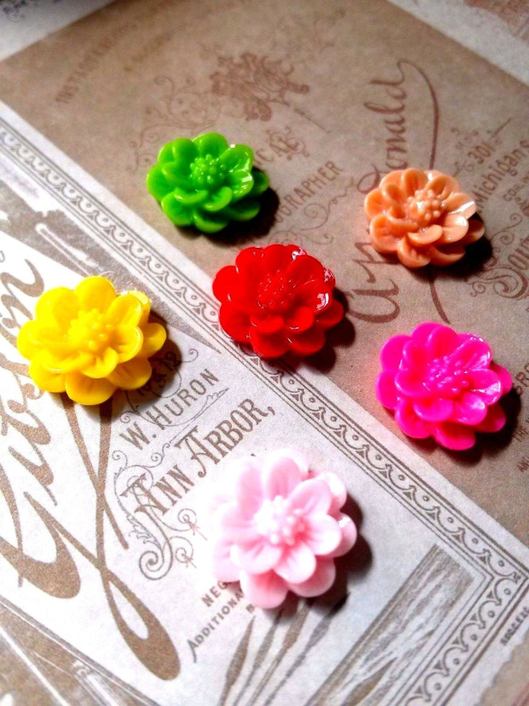 Resin Flower Cabochons Peony Flower Cabochons Flat Back Flowers Flower Flatbacks Assorted Flower Cabochons Resin Flowers Assorted Flowers 10