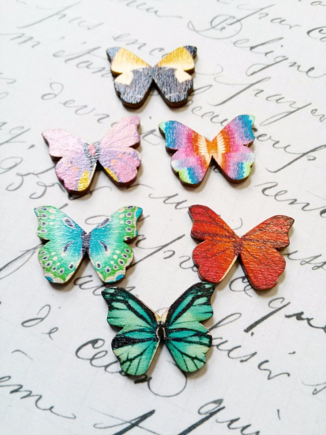 Butterfly Cabochons Assorted Wood Cabochons Colorful 4 pieces Butterflies Assorted Colors 28mm