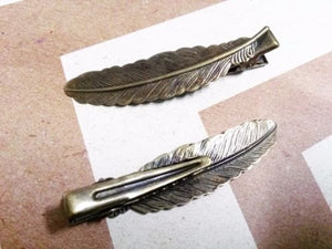 Feather Alligator Clip Blanks Antiqued Bronze Brass 53mm Hair Accessories Sold per pkg of 5
