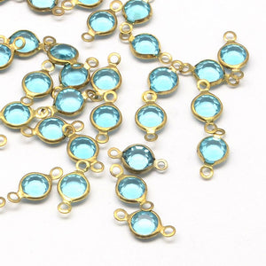 March Birthstone Links Connectors Aquamarine Glass Links Antiqued Gold Bezeled Glass Connectors 13mm 10 pieces
