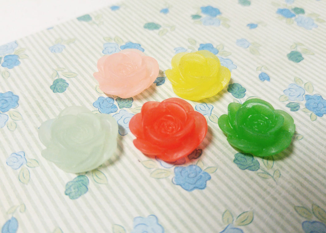 Flower Cabochons Resin Flowers Rose Cabochons Flower Flatbacks Flat Back Flowers Embellishments Assorted Cabochons 18mm 10 pieces Frosted