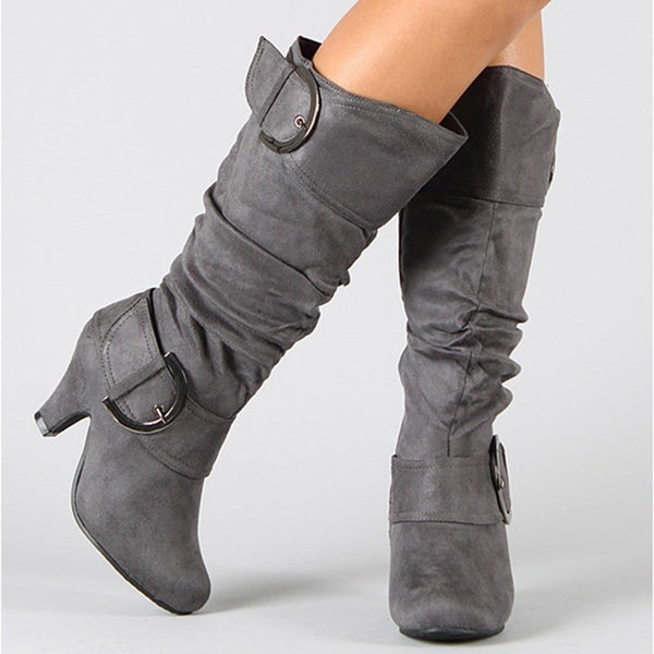 Chunky Heel Zipper Flocking Stiefel