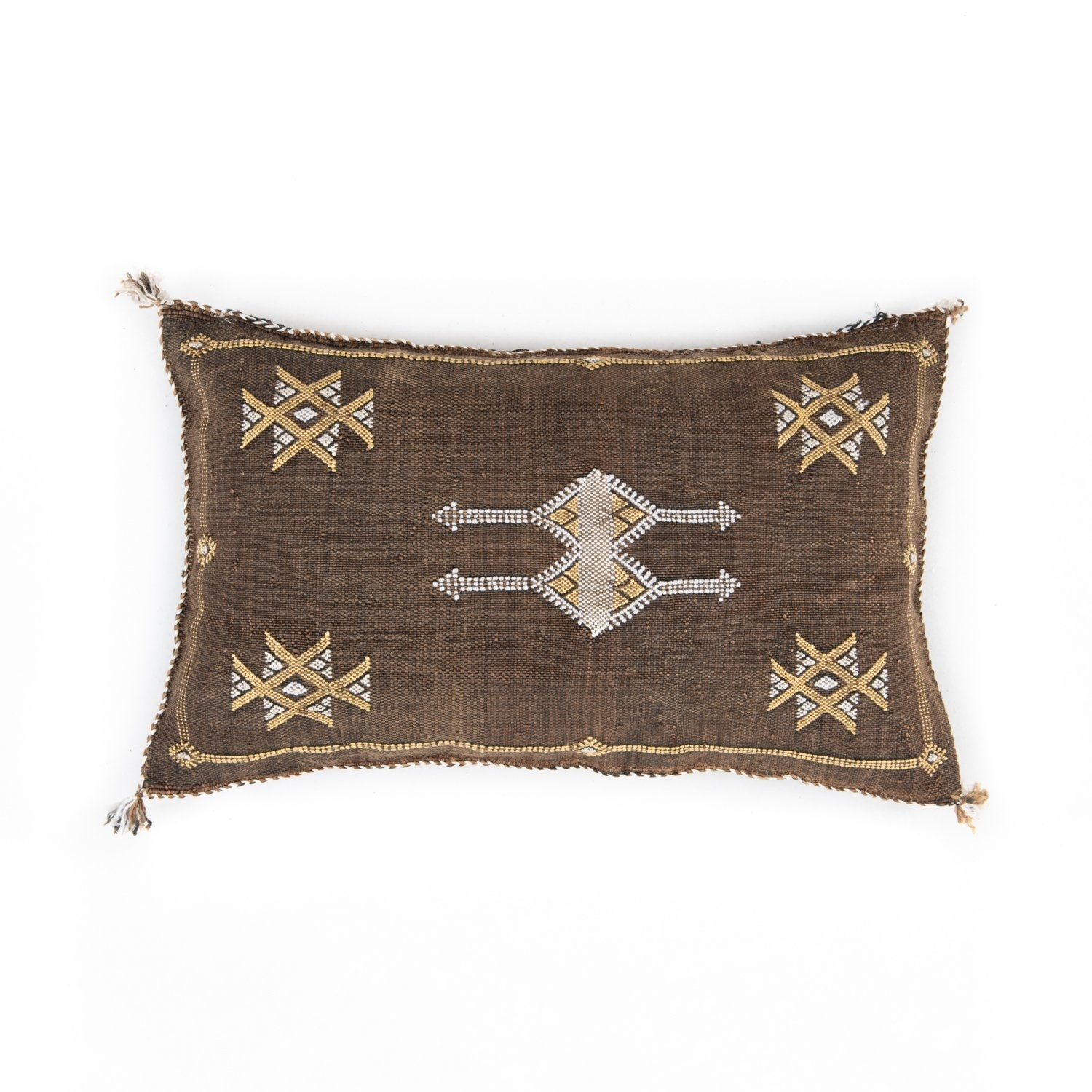Brown Cactus silk Sabra Pillow Cover - Moroccan Furniture