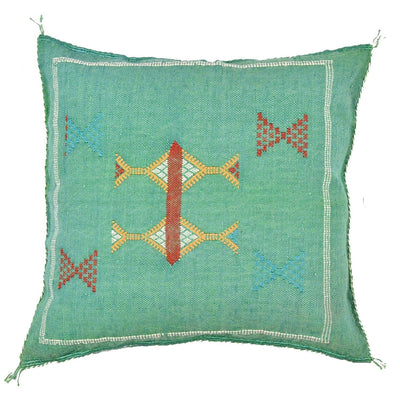 Green Cactus silk Sabra Pillow - Moroccan Furniture