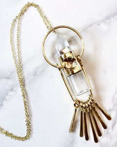 -Made to order- Red Brass Fringe Rollerball Necklace with Clear Quartz and Handcut Flower