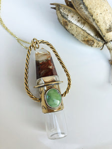 Red brass Twist Nova Rollerball Necklace with Angel Amphibole Quartz and turquoise