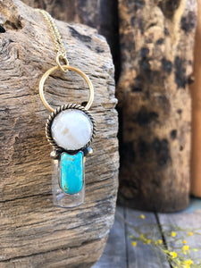 Desert Moon Red Brass Rollerball Necklace with White Quartz and Turquoise
