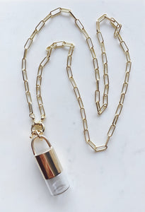 -Charmed- Red brass Rollerball Necklace