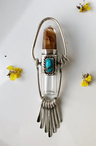 Nova Rollerball Fringe Necklace with Amphibole Quartz Point and Turquoise