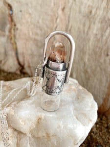 Sterling Silver Rollerball Necklace - Amphibole Angel Quartz & Stamping