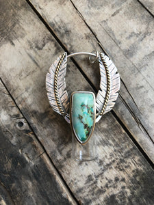 Feathered Sterling Silver Rollerball Necklace with Chrysocolla