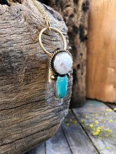 Load image into Gallery viewer, Desert Moon Red Brass Rollerball Necklace with White Quartz and Turquoise