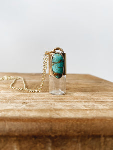Red Brass Rollerball Necklace - Nacozari Turquoise