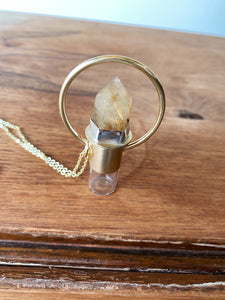 Red Brass Rollerball Necklace - Rutile Quartz