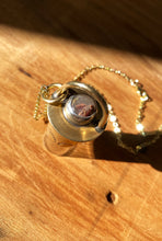 Load image into Gallery viewer, BABY BALLER - Red Brass Rollerball Necklace with stamping - Agate