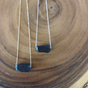 Chunky Lava Stone Diffuser Necklace with Silver Chain