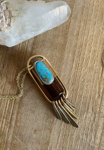 BOUNDLESS FRINGE Red Brass Rollerball Necklace with Mexican Turquoise