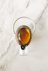 Sterling Silver Rollerball Necklace with Amber