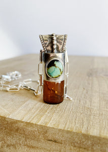 Sterling Silver Rollerball Necklace with Kingman Turquoise and Intricate Bail