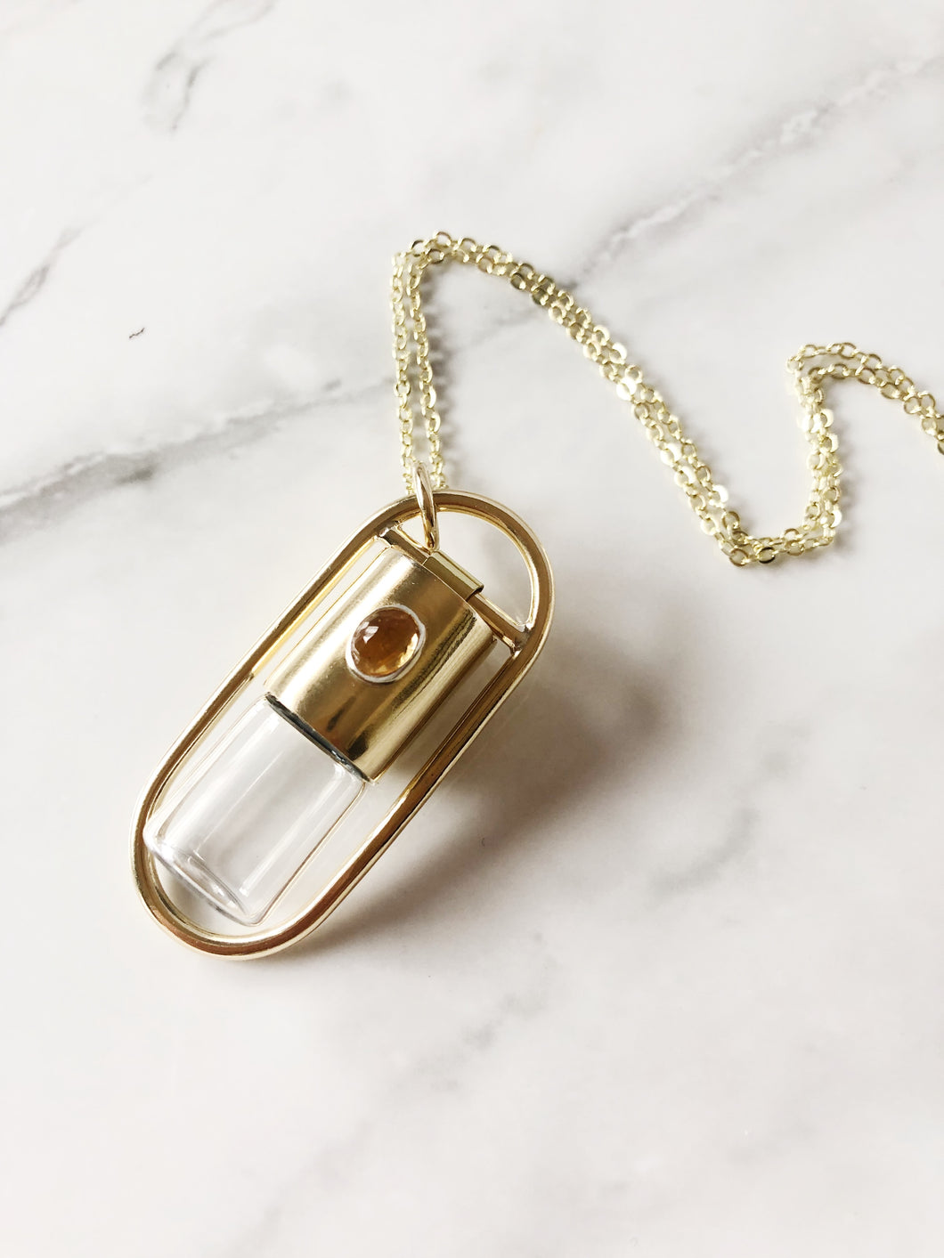 Boundless Red Brass Rollerball Necklace with Faceted Citrine Oval