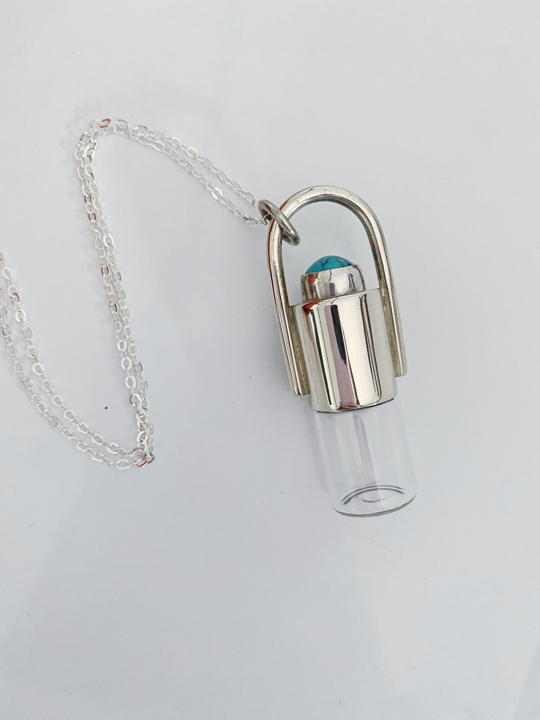 Sterling Silver Rollerball necklace with Turquenite